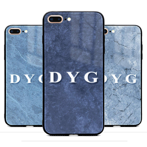 Custom initials iPhone 7+ Glass phone case printed with blue marble effects available in 3 colours
