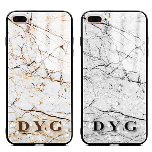 iphone 7+ glass phone case personalised with initials on a natural marble veins effect available in 2 colours