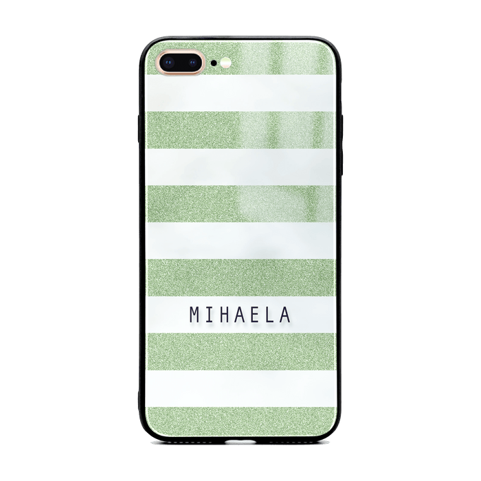 iphone 7+ glass phone case customised with name on mint glitter stripes