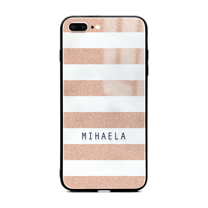 iphone 7+ glass phone case customised with name on peach glitter stripes