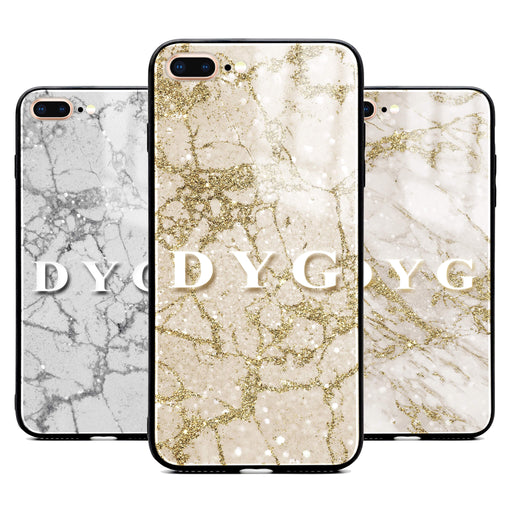 iphone 7+ glass phone case personalised with initials on sparkling pearl marble available in 3 colours