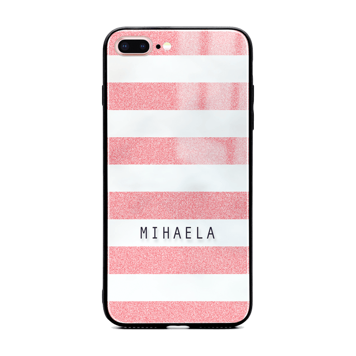 iphone 7+ glass phone case customised with name on pink glitter stripes