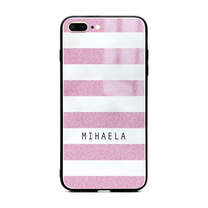 iphone 7+ glass phone case customised with name on purple glitter stripes