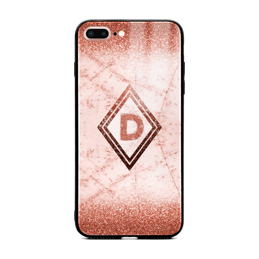 Custom initial iPhone 7+ Glass phone case with rose gold glitter and marble effect and diamond shape