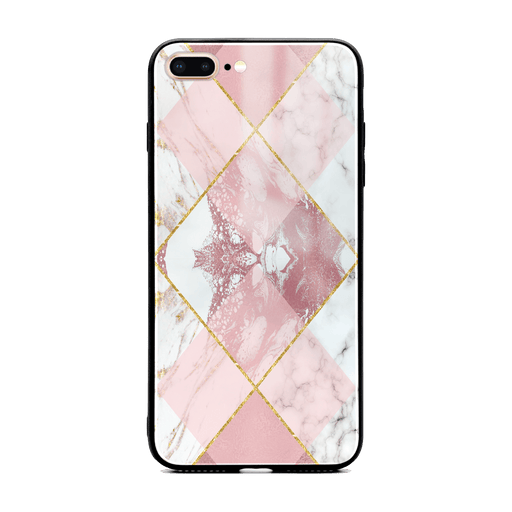 iphone 7+ glass phone case printed with seamless white and rose marble patterns design 1