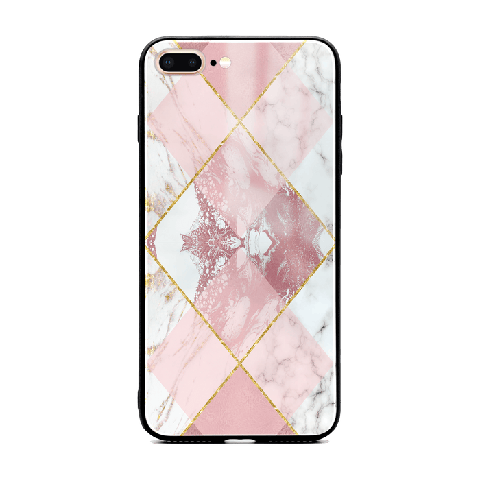 Rose Marble & Geometric Patterns - iPhone 7 Plus glass phone case design-your-gift.