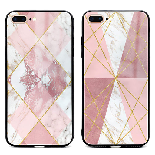 iphone 7+ glass phone case printed with seamless white and rose marble patterns available in 2 design variants
