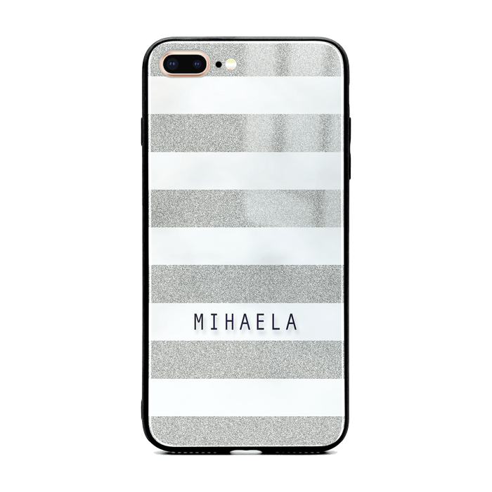 iphone 7+ glass phone case customised with name on silver glitter stripes