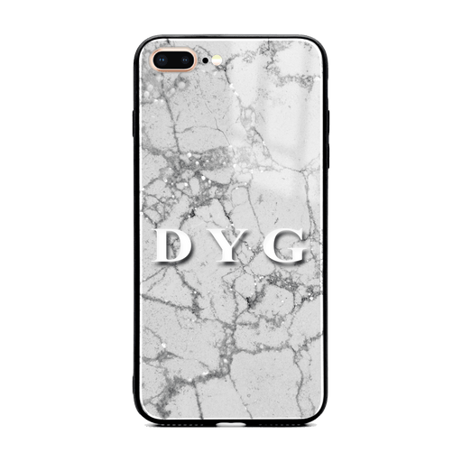 iphone 7+ glass phone case personalised with initials on sparkling silver pearl marble