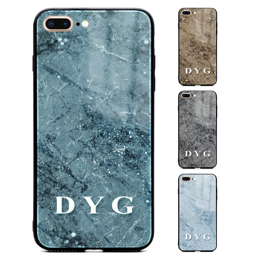 iphone 7+ glass phone case personalised with initials on colourful sparkle marble available in 4 colours