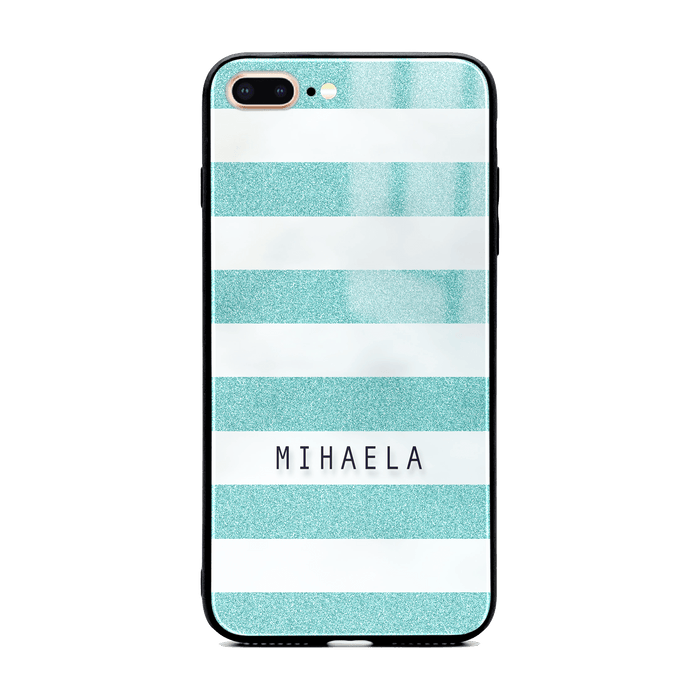 iphone 7+ glass phone case customised with name on turquoise glitter stripes
