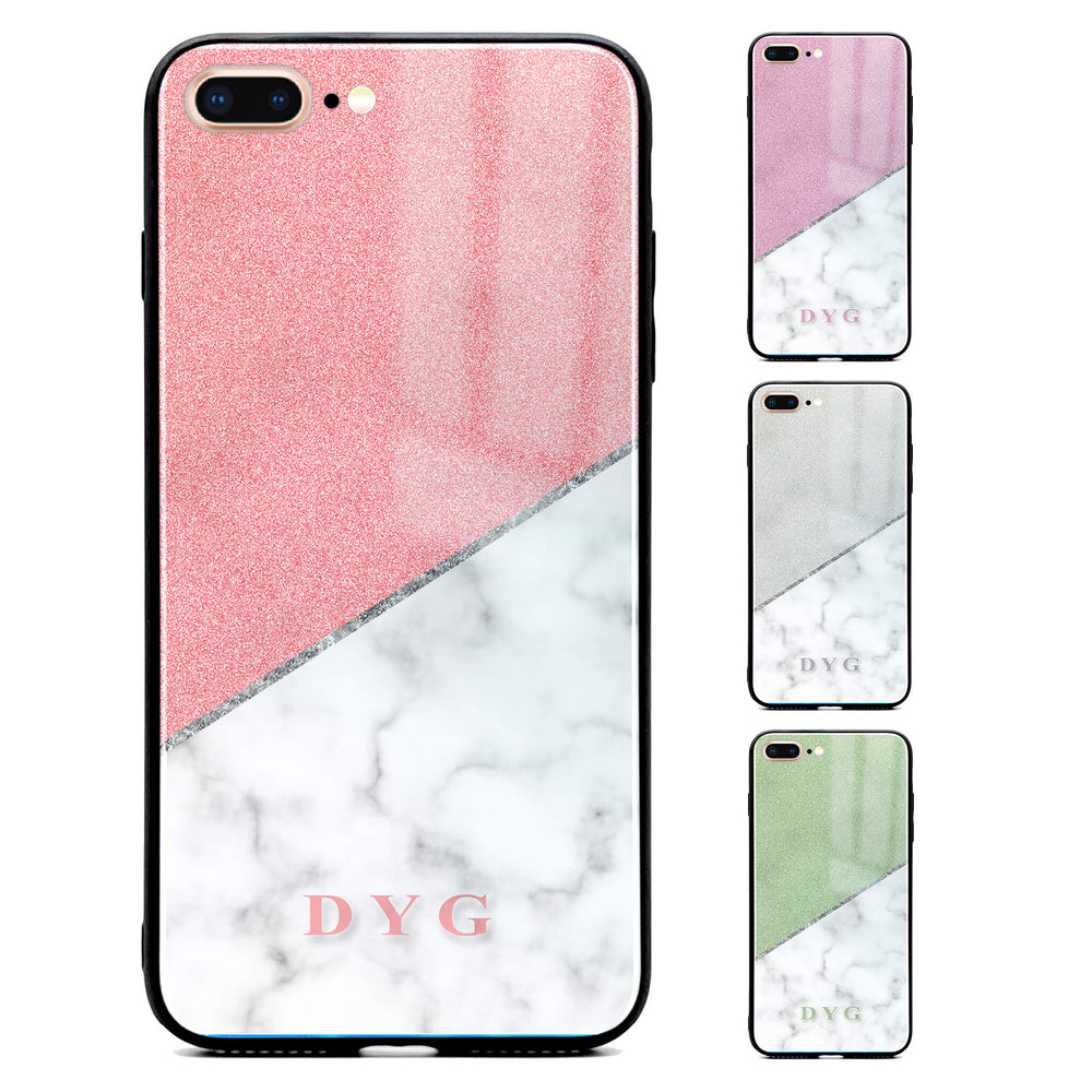 iphone 7+ glass phone case personalised with initials on white marble and glitter available in 4 colours