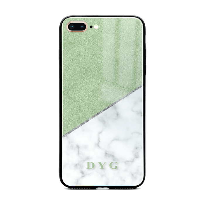 iphone 7+ glass phone case personalised with initials on white marble and green glitter