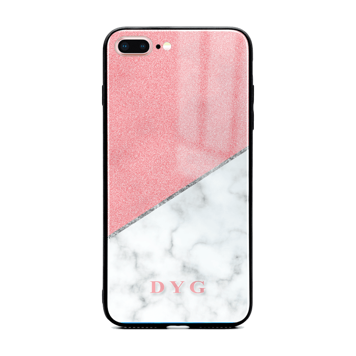 iphone 7+ glass phone case personalised with initials on white marble and pink glitter