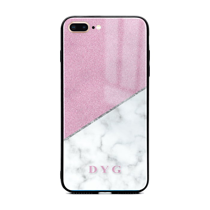 iphone 7+ glass phone case personalised with initials on white marble and purple glitter
