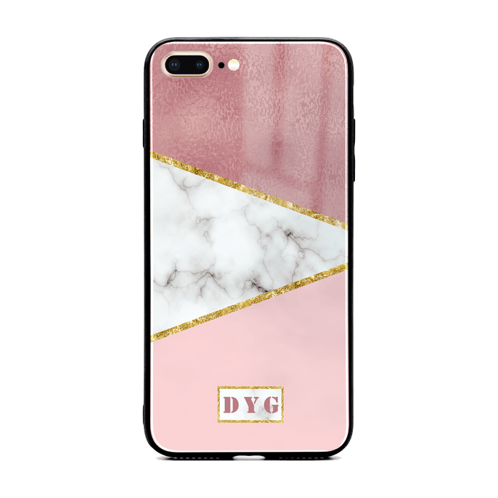 White & Rose Marble with Initials - iPhone 7 Plus Glass Phone Case design-your-gift.