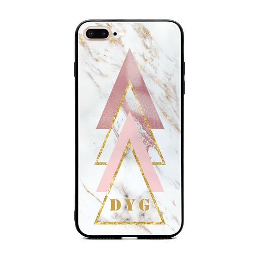 iphone 7+ glass phone cases personalised with initials on white and rose marble pattern 1