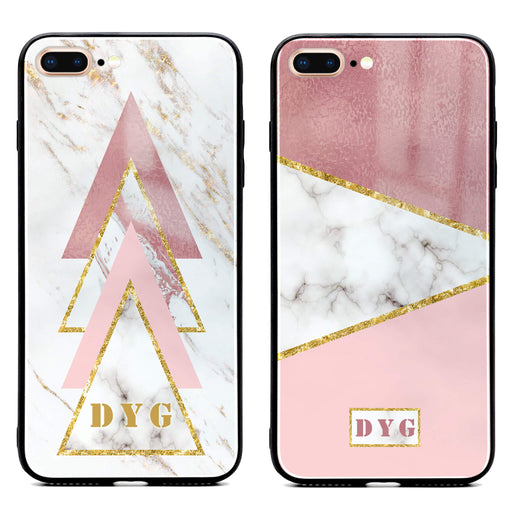 iphone 7+ glass phone cases personalised with initials on white and rose marble patterns available in 2 design variants
