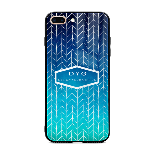 Custom initials iPhone 7+ Glass phone case printed with hollow zigzag pattern blue sea colour theme
