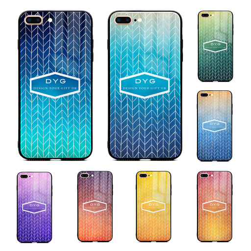 Custom text iPhone 7+ Glass phone case printed with hollow zigzag pattern available in 8 colours