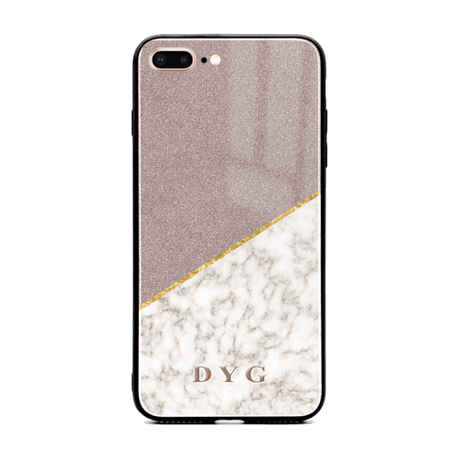 iphone 7+ glass phone case personalised with initials on gold marble and purple glitter design