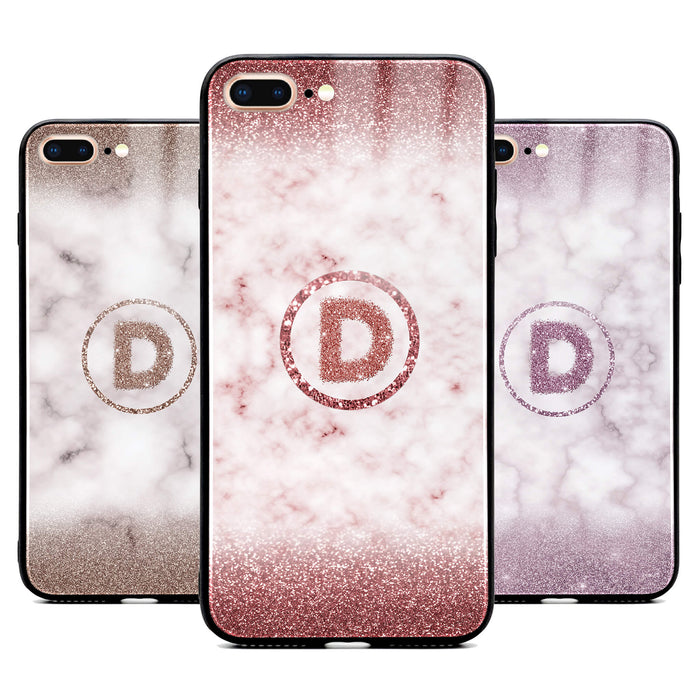 Custom initial iPhone 7+ Glass phone case with glitter and marble effect and round shape available in 4 colours