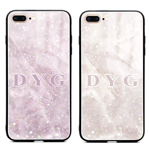 iphone 7+ glass phone case personalised with initials on luxury sparkle marble effect available in 2 colours