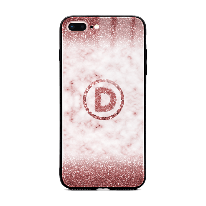 Custom initial iPhone 7+ Glass phone case with rouge glitter and marble effect and round shape