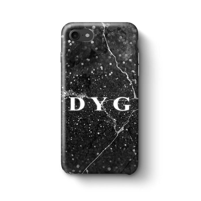 Dark Marble With Initials iPhone 7 3D Custom Phone Case black