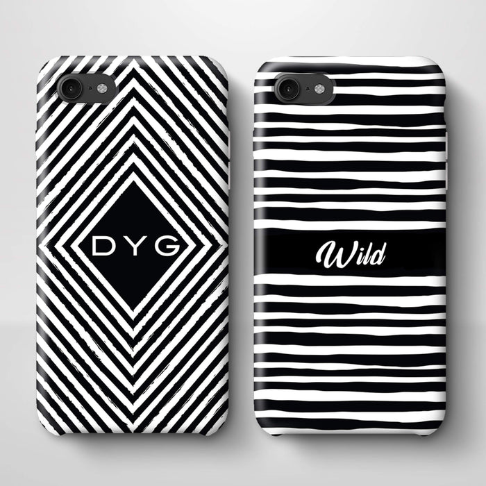 Black & White Patterns with Initial iPhone 7 3D Custom Phone Case variants