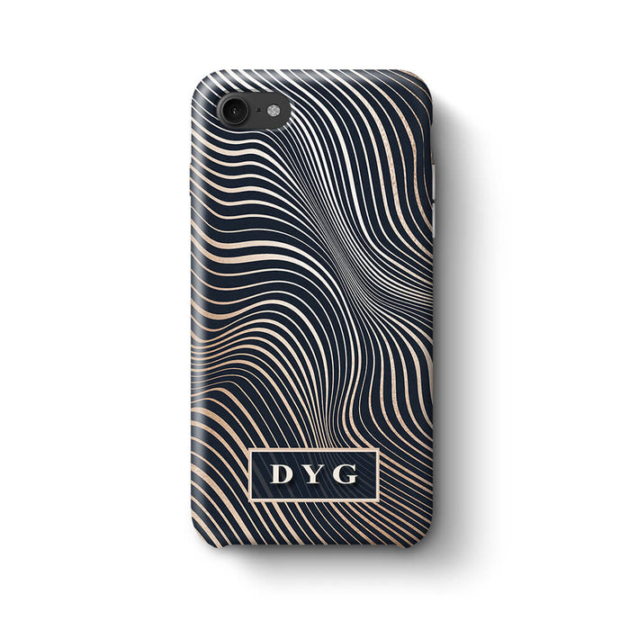 Glossy Waves With Initials iPhone 7 3D Custom Phone Case black