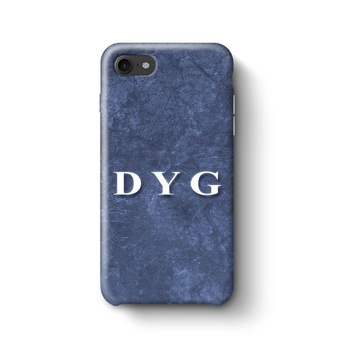 Blue Marble With Initials iPhone 7 3D Custom Phone Case blue noir