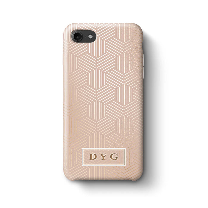 Glossy Geometric Pattern With Initials iPhone 7 3D Phone Case Champagne