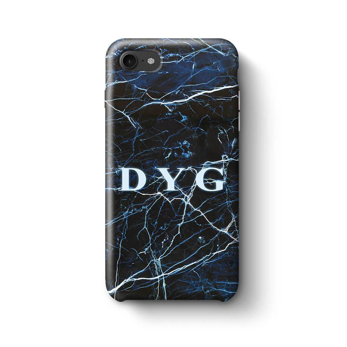 Dark Marble With Initials iPhone 7 3D Custom Phone Case dark sea