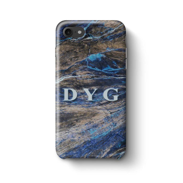 Dark Marble With Initials iPhone 7 3D Custom Phone Case earthy blue