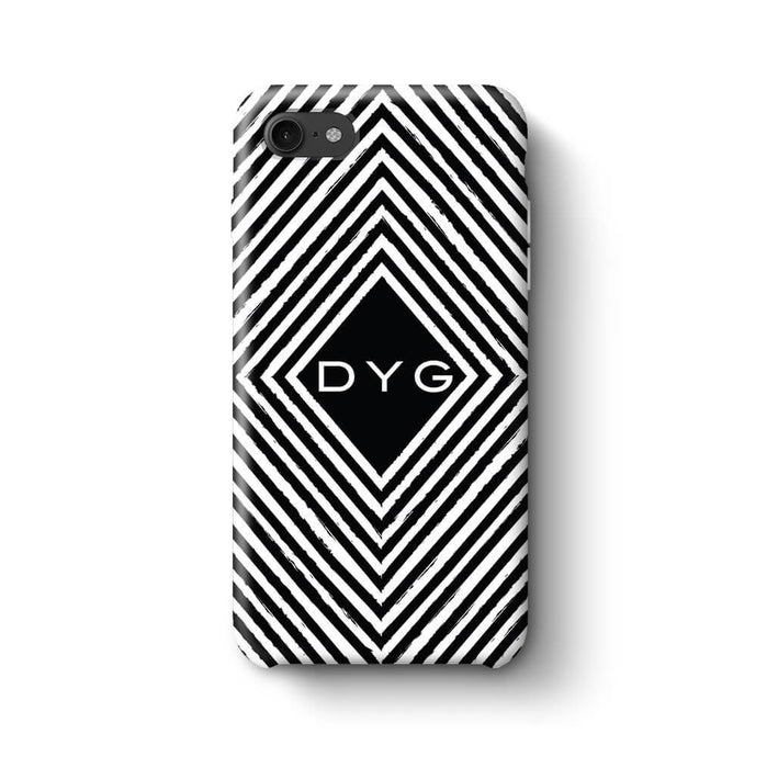Black & White Patterns with Initial iPhone 7 3D Custom Phone Case geometric pattern