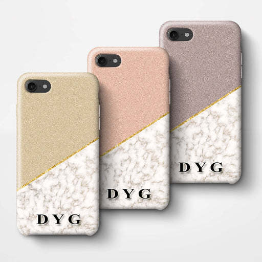 Gold Marble & Glitter With Initials iPhone 7 3D Custom Phone Case Variants