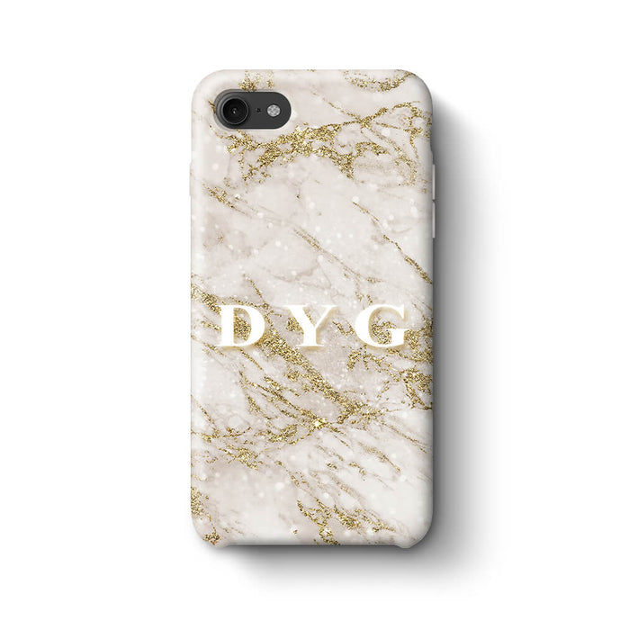 Pearl Marble With Initials iPhone 7 3D Custom Phone Case gold
