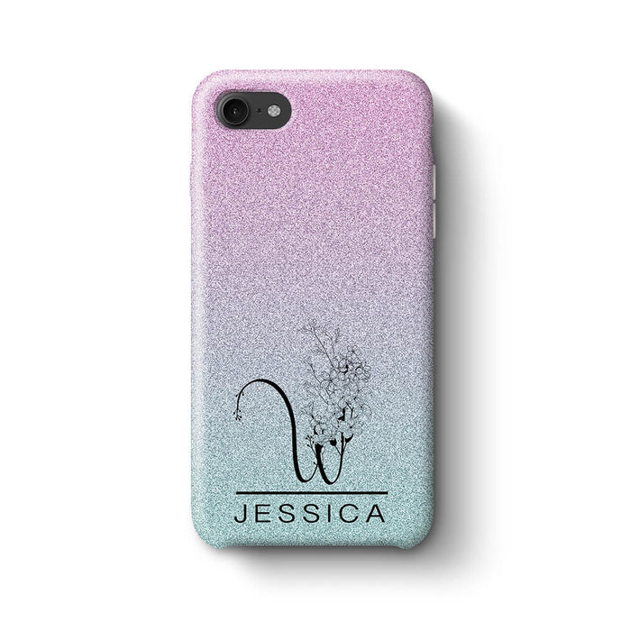 Glitter Ombre With Initial & Name iPhone 7 3D Custom Phone Case indigo