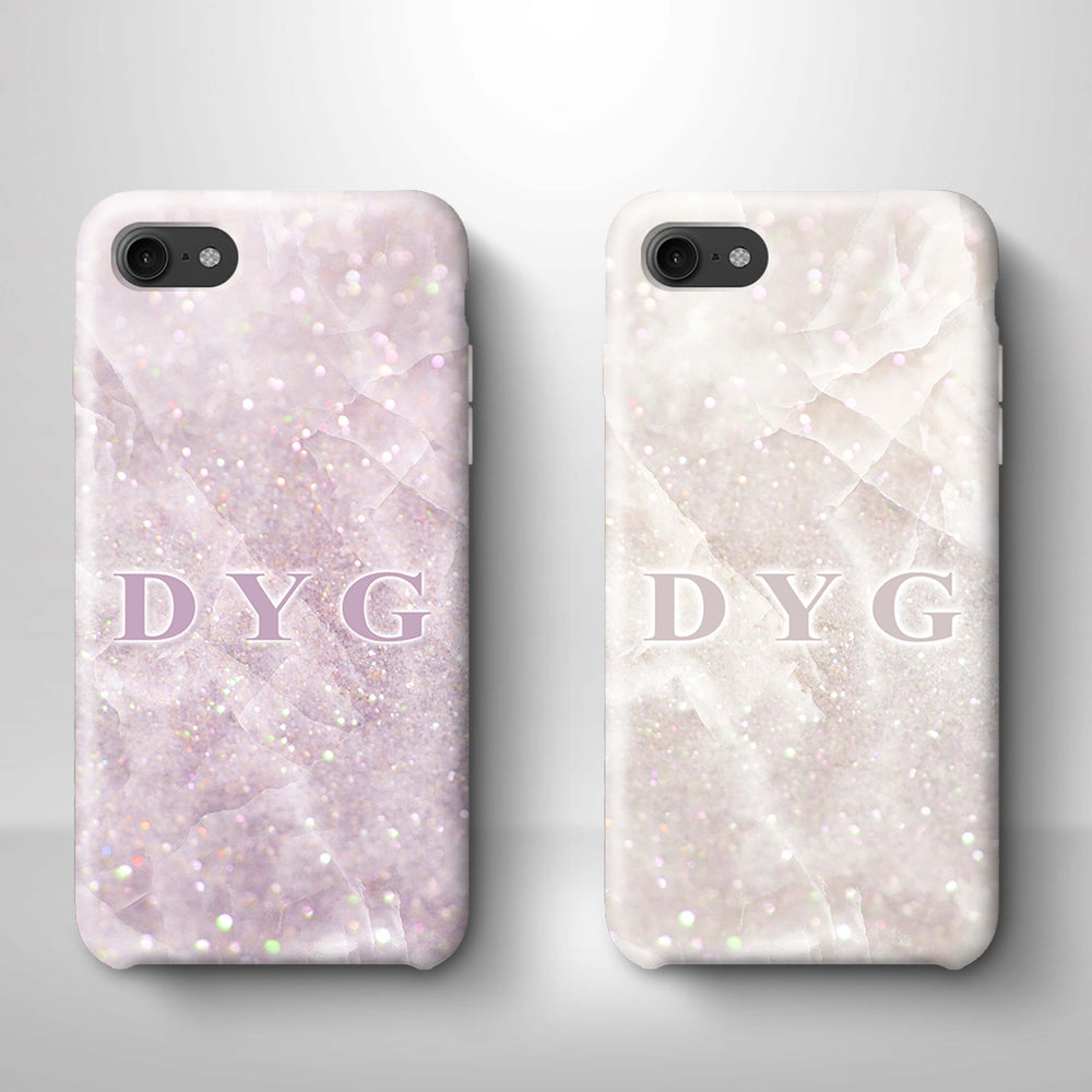 Luxury Glitter Marble With Initials iPhone 7 3D Custom Phone Case variants