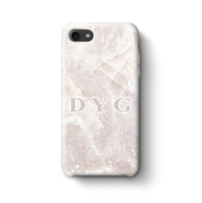 Luxury Glitter Marble With Initials iPhone 7 3D Custom Phone Case white