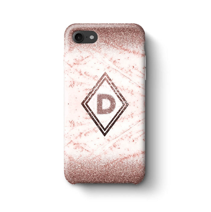 luxury Marble & Glitter With Initial iPhone 7 3D Custom Phone Case coffee
