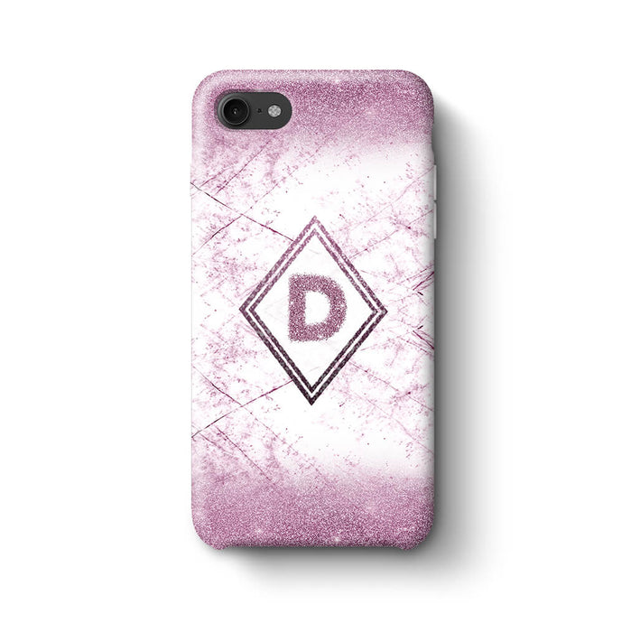 luxury Marble & Glitter With Initial iPhone 7 3D Custom Phone Case purple