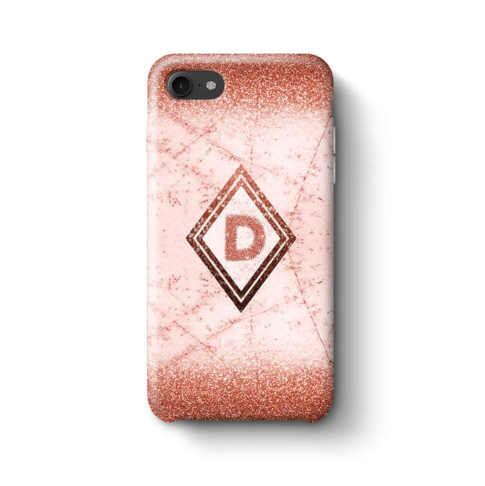 luxury Marble & Glitter With Initial iPhone 7 3D Custom Phone Case rose gold