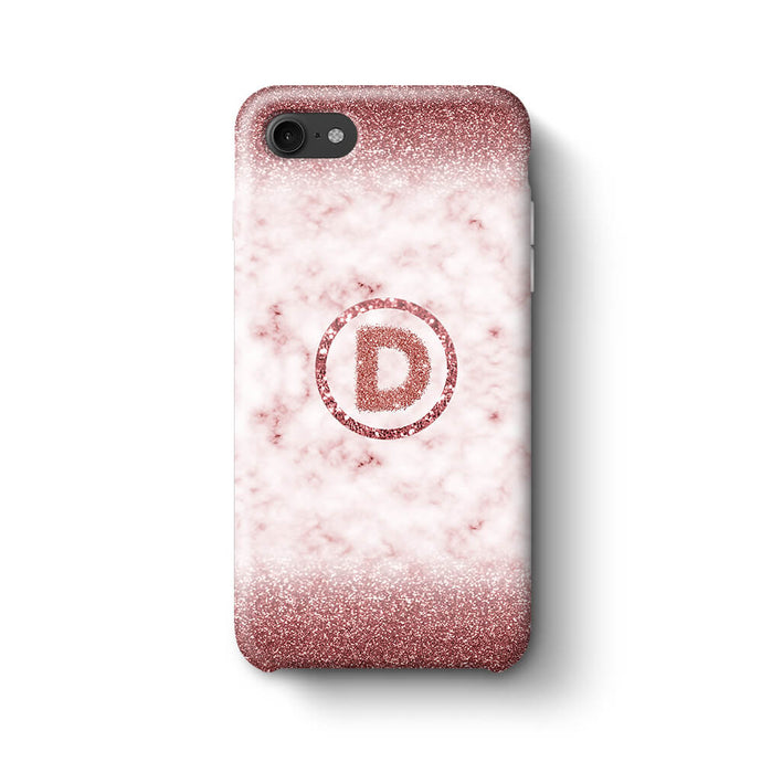 Marble & Glitter With Initial iPhone 7 3D Custom Phone Case rouge