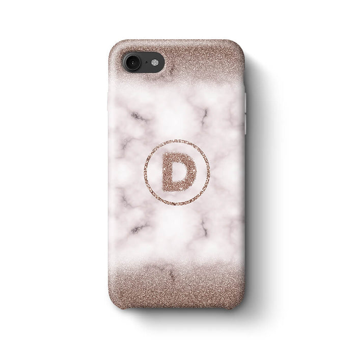 Marble & Glitter With Initial iPhone 7 3D Custom Phone Case sand