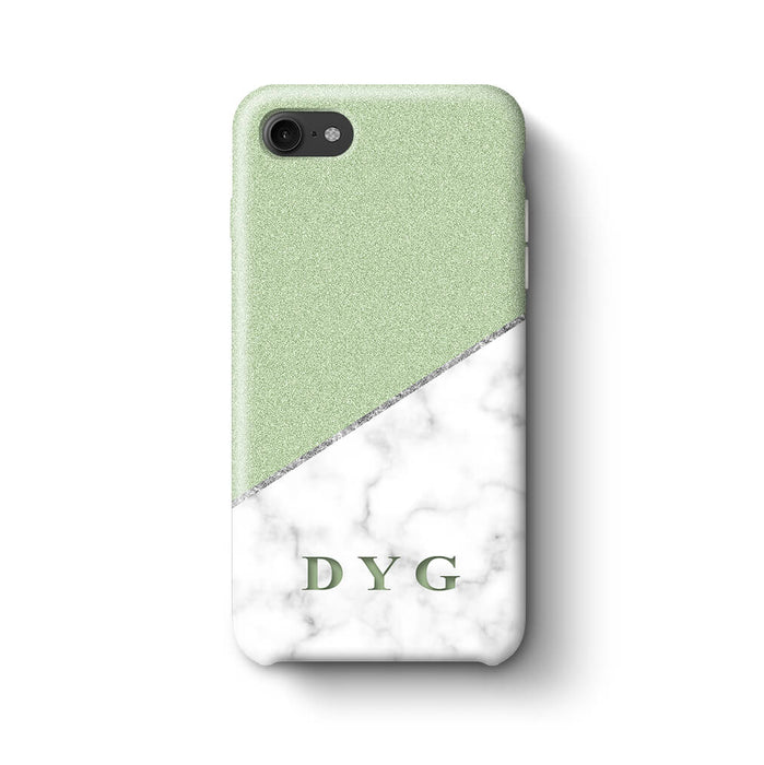 White marble & Glitter With Initial iPhone 7 3D Custom Phone Case mint