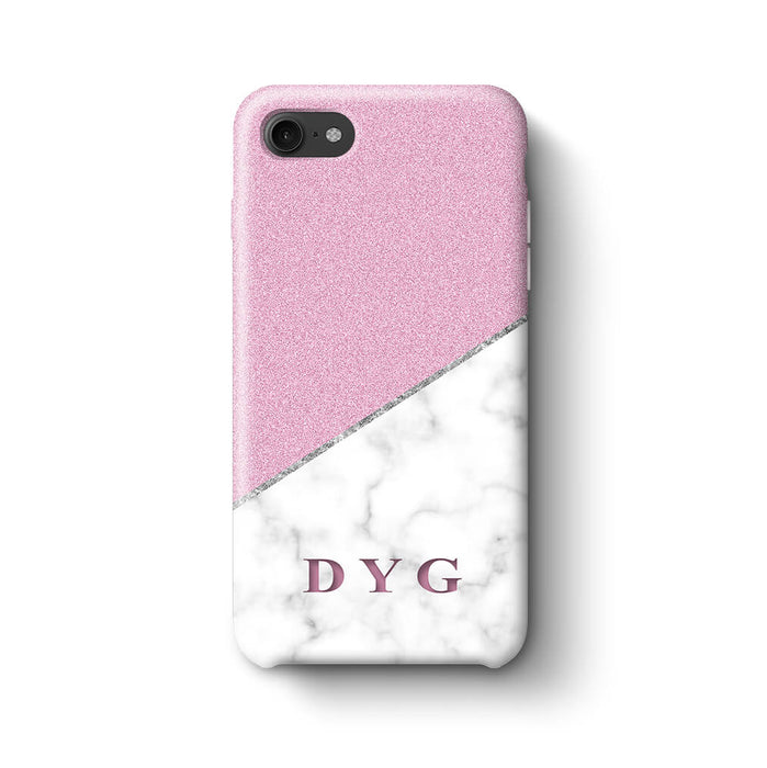 White marble & Glitter With Initial iPhone 7 3D Custom Phone Case purple