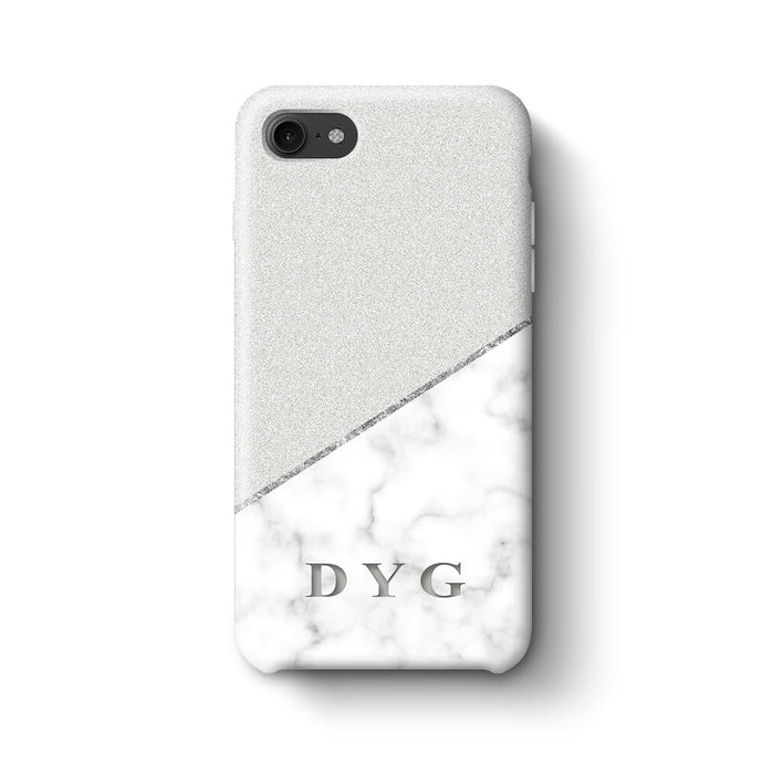 White marble & Glitter With Initial iPhone 7 3D Custom Phone Case silver