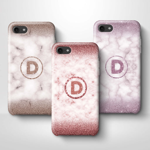 Marble & Glitter With Initial iPhone 7 3D Custom Phone Case variants